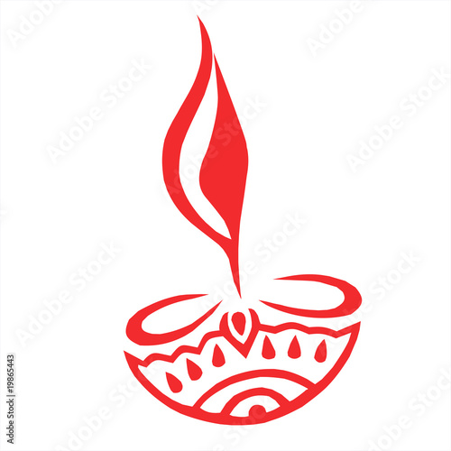 Illustration of divine lamp in red