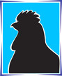 A painting of a hen in Blue background