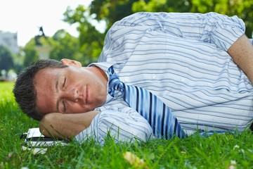 Relaxed businessman outdoor