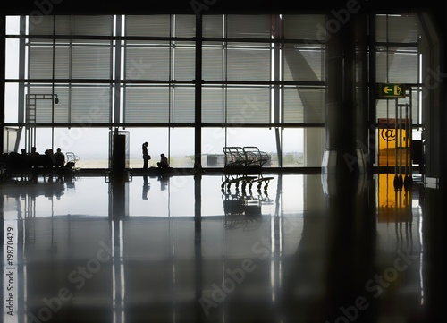 Polished floor of airport terminal