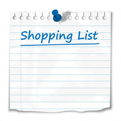 """Shopping List"" stuck to Notice Board (reminder note paper)"