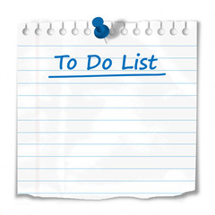 """To do"" list stuck to wall (notepaper reminder tasks checklist)"
