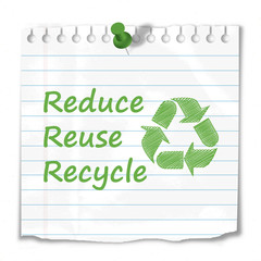"""""""Reduce, reuse, recycle"""" note stuck to wall (symbol green)"""