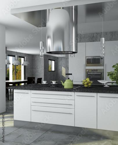 fototapete cuisine moderne grise. Black Bedroom Furniture Sets. Home Design Ideas