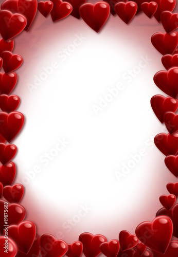 Lettre d'amour coeurs carte voeux A4 vierge