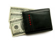 Black purse with dollars.