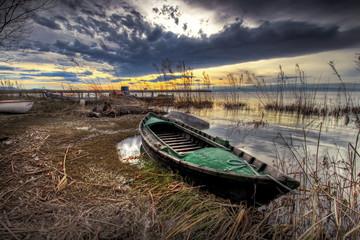 la barca en  el pantano