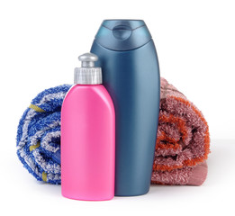 Cosmetic bottles and towels