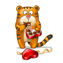 Fun tiger with box of chocolate candies