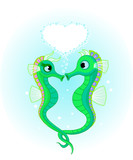 Seahorses in love poster