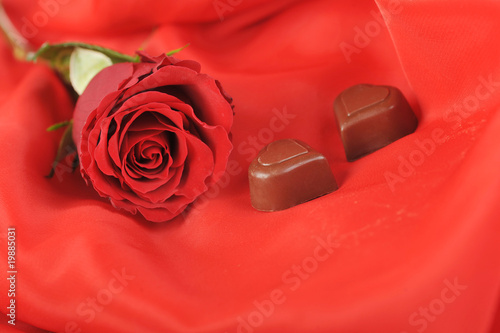 red rose and chocolate