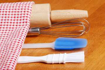 closeup of kitchen baking utensils