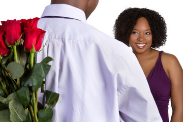 Man Giving Woman Roses
