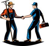 Farmer and tradesman mechanic handshake poster