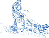 Freya Norse goddess riding chariot pulled by cats poster