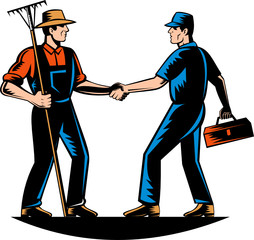 Farmer and tradesman mechanic handshake