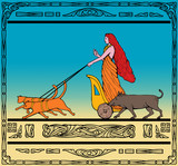 Freya Norse goddess ride chariot pulled by cats  boar poster