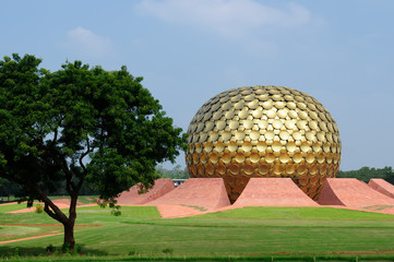 India, Auroville, Matrimandir meditation place