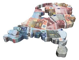 Netherlands map 3d render with euros illustration