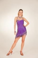 Professional dancer in violet short dress