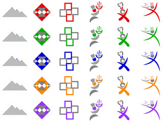 Chef and Abstract Squares Vector Logo Icon Design Elements