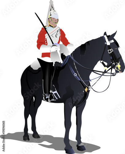 Vector image of London guard on a horse isolated on white