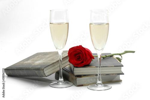 Champagne, rose and books