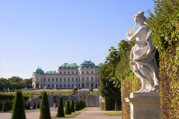 Vienna - Belvedere palace - park and statue