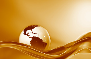 Elegant modern wave with white globe in fiery colors