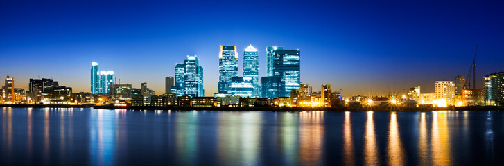 Canary Wharf night panorama (London, UK)