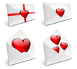 Envelopes with hearts for valentine day - EPS 10 vector icons