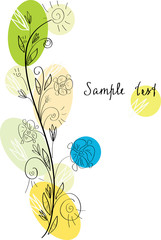 Floral greeting card with ink flowers