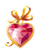 Gold heart shaped pendant with red ruby