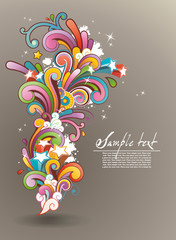 background with colored abstract floral ornament