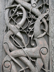 Viking carvings from Urnes viking Church