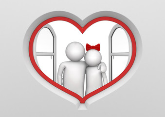 Couple in the heart shaped window (love, valentine day series)