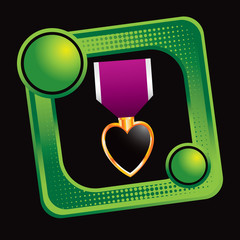 military medal green halftone tilted web icon