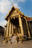 famous temple Phra Sri Ratana Chedi covered with foil gold poster