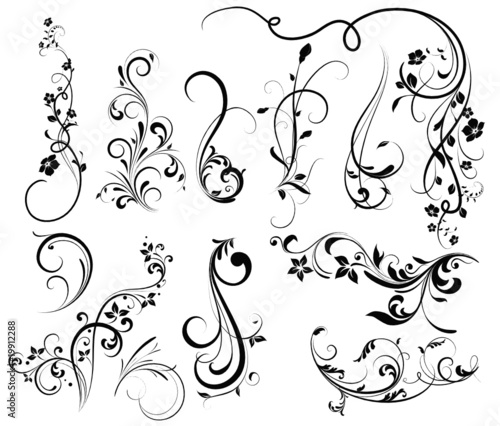 Floral silhouette, element for design, vector tattoo