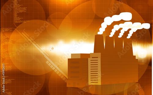 Illustration of a factory emitting smoke