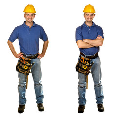 Isolated standing young worker on white background. Double