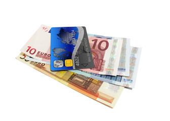 Tas de billet et carte bancaire