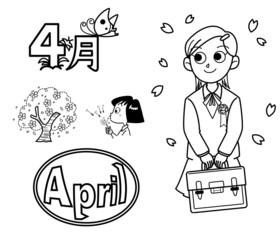 4月のイラスト素材