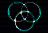 Blurry light effect interlocking rings eps10 with transparency poster