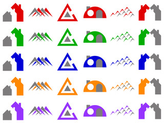 Houses and Construction Vector Logo Icon Design Elements