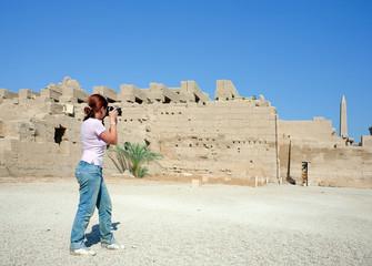 Girl is photographing Karnak Temple