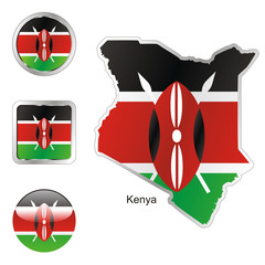 vector flag of kenya in map and web buttons shapes