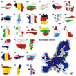 vector illustration of all flags of the EU in map shape