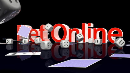 Bet Online text with casino chips and cards falling, Alpha