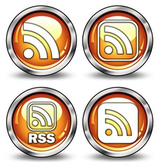 "Glossy 3D Style Buttons ""RSS Logo"""